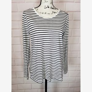 Madewell Striped Cotton T-Shirt Blouse Size L